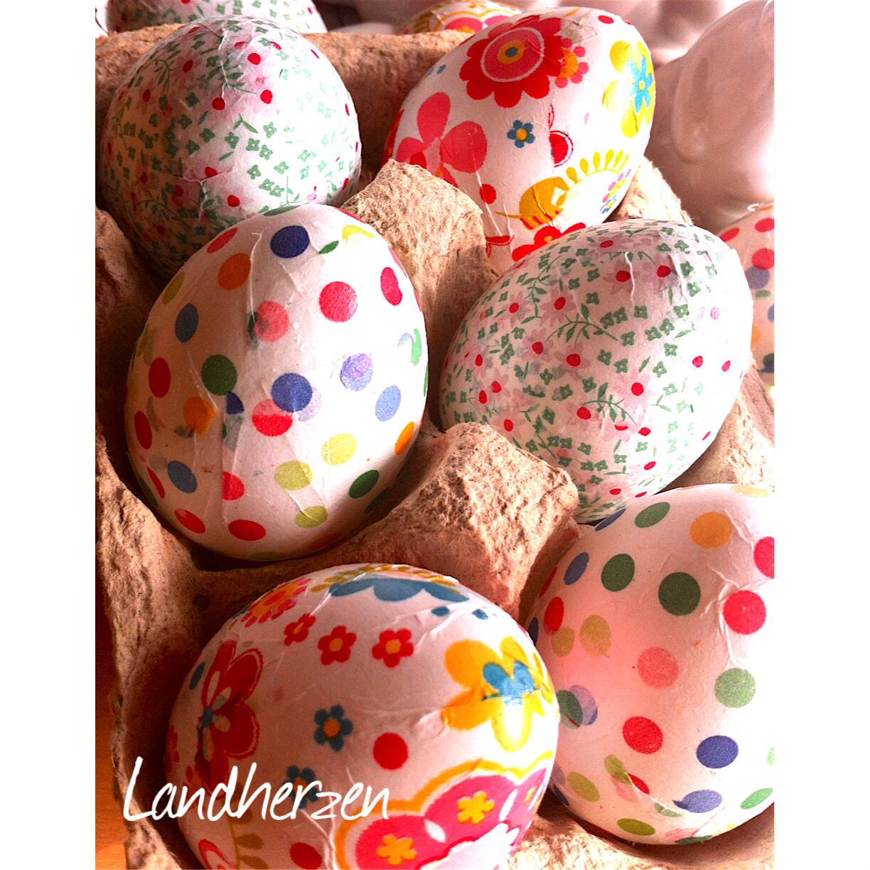 Ostereier mit paper patch glutenfreie rezepte kreative - Eier dekorieren ...