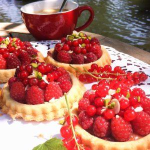 Obst Törtchen Erdbeeren Himbeeren glutenfrei Biskuit Johannisbeeren