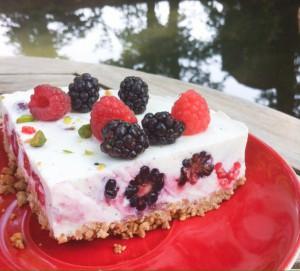 No bake cake glutenfrei Brombeeren Himbeeren