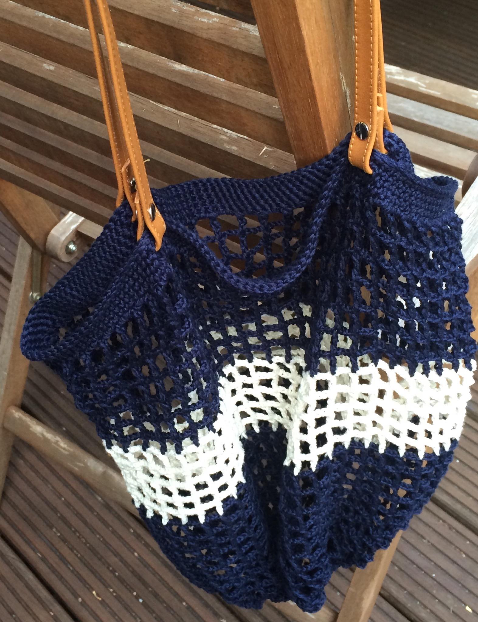 Einkaufsnetz Häkeln Mit Leder Riemen Als Griffe Anleitung