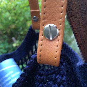 Einkaufsnetz mit Lederriemen häkeln Anleitung