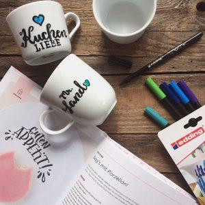 Tassen Porzellan beschriften Handlettering