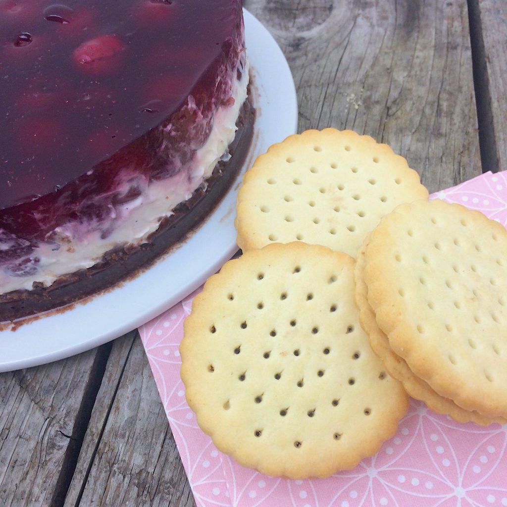 Kirsch-Schmand-Doppelkeks Torte Rezept glutenfrei Schär Doppelkeks