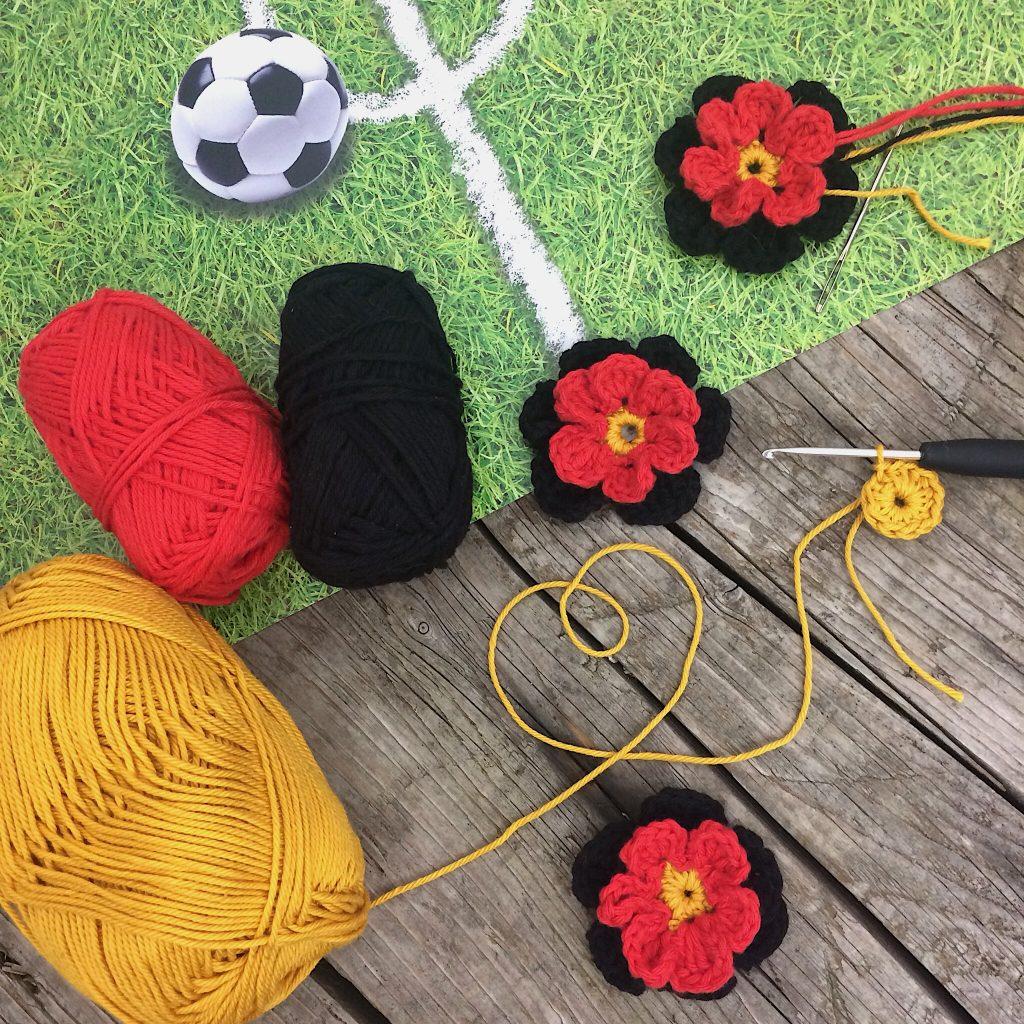 Deutschland-Blumen häkeln für WM 2018 Anleitung
