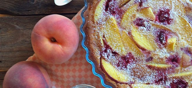 Pfirsich Himbeer Clafoutis